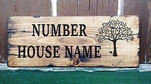 Personalised Wooden Oak Tree House Name Plaque Sign Porch Conservatory Street.
