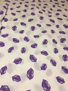 Purple Lips Pop Art 50/50 Cotton Blend Twin Flat and Fitted Sheet Set by Springs