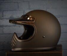 Matrix Low Profile Retro Matt Black Vintage Cross  Full face helmet Size Medium