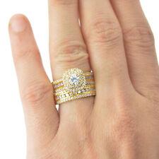 2.50 Carat White Diamond Bridal Ring Set in 14K Yellow Gold Finish 925 Silver