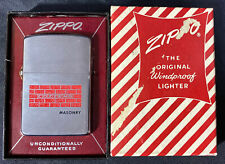 Vintage 1960/61 ZIPPO Lighter (Unstruck) Advertising Cozzens Masonry ~ IN BOX
