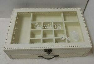 """Ivory Sewing Box with Drawer 12""""x8""""x3.5""""  E32"""