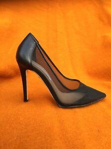 Diana von Furstenberg black leather / mesh stilleto shoes , s. 6,5