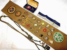 RARE 1930's BOY SCOUT EAGLE MEDAL & MERIT BADGE SASH, SENIOR SCOUTING PATCH,etc