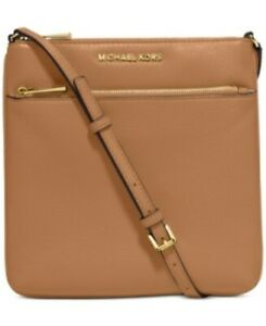 MICHAEL KORS Acorn Brown Small Flat Crossbody Leather Double Zip New With Tag