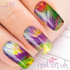 Vivid Purple Flower Water Decal Nail Art Stickers, Decals, Tattoos