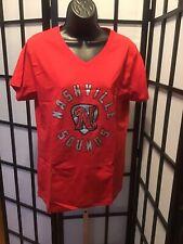 Nashville Sounds MiLB Soft As a Grape Women's Red V-Neck T-Shirt Size Large New