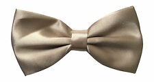 Mens Satin Plain Beige pre Tied Adjustable Bow Tie, Fancy Dress/Evening