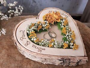 Hochzeit Ringkissen Herz Mille Fleurs gelbe Rosen für Eheringe mit Namen