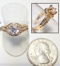 Solitaire/Engagement Style Ring w/Small Accent Stones, 18K GF & Crystal, NEW, 8