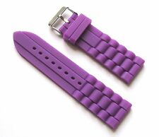 New 24mm Silicone Watch Band - Watch Strap - Purple with Stainless Steel Buckle
