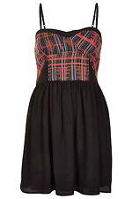 BNWT TOPSHOP BLACK & RED CHECK JACQUARD STRAPPY DRESS SIZE 6, RRP £36