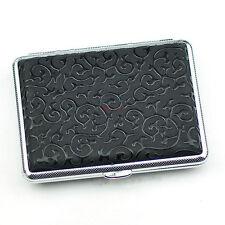 Black Leather Cigarette Case Box Hold For 16 Cigarettes 306B69