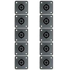 10 PACK SPEAKON COMPATIBLE 4WIRE SPEAKER BOX CABINET PANEL MOUNT CONNECTOR JACK