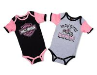 Harley Davidson Infant Newborn & Baby Girl 1 Black/Pink & 1 Gray/Pink Leotards