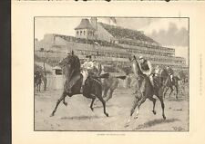 1892 ANTIQUE PRINT- THE DERBY, THE PRELIMINARY CANTER