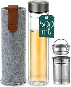 Teeflasche Glas mit Sieb Trinkflasche Thermo Bereiter Edelstahl Tea to Go Tee