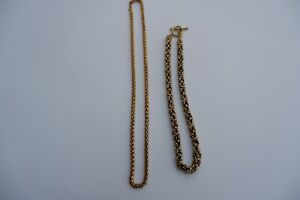 2 YELLOW GOLD TONE HEAVY CHAINS OR NECKLACES - C2000'S
