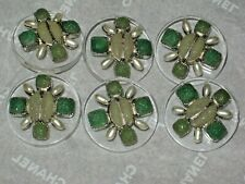 CHANEL 6 METAL CC LOGO FRONT GREEN GLASS PEARL BUTTON  24 MM/ OVER 1'' NEW lot 6