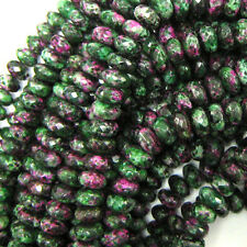 """8mm faceted ruby zoisite jade rondelle beads 15.5"""" strand S1"""