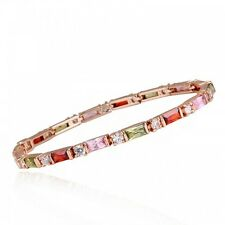GORGEOUS 18K ROSE GOLD PLATED & GENUINE MULTI-COLOURED CUBIC ZIRCONIA BRACELET