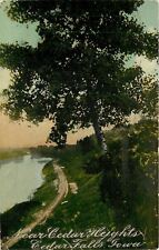 Cedar Falls Iowa~Railroad Tracks near Cedar Heights~Lake~1915~Post Card