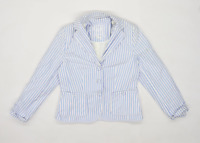 Preworn Womens Size 14 Cotton Striped Blue Blazer Jacket