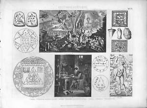 1867 ASTROLOGY ALCHEMY ALCHEMIST HOROSCOPE AMULET AntiqEngraving Print Brockhaus
