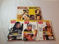 5 vintage pro wrestling books and tv guide strongbow brisco hogan rhodes austin