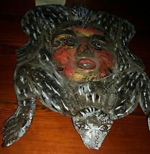 Folk Art  Mexico Tribal Mask Metal  Guerrero Copper  Armadillo Face Vintage M-1