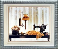 Country Sewing & Old Lamp Still Life Fine Wall Decor Silver Framed Picture 20x24