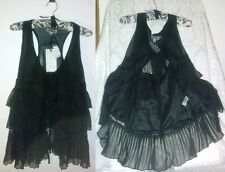 Sm Cecico Goth Black Ruffle Pleated Chiffon Lace Sheer Lined Vest Top Tie Front