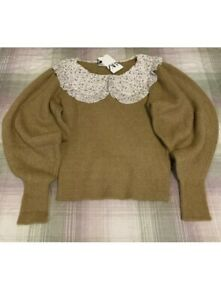 Zara Knit Sweater with Contrast Peter Pan Collar. Size S