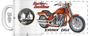 "HARLEY DAVIDSON SCREAMIN' EAGLE MOTORCYCLE ""HIGH DETAILED"" IMAGE COFFEE MUG"