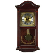 Bedford Clock Collection Mahogany Cherry Wood 22 Wall Clock With Pendulum and C