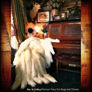 Thrown Blanket - Plush Fox - Faux Fur - Fox Tail Fringe - Minky Cuddle Fur Lined