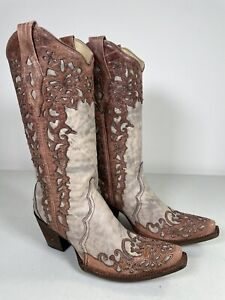 Women's Corral Boots Sand Cognac Laser Overlay Embroidery Handmade 9.5 A2665