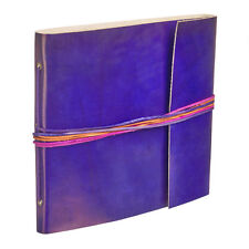 Fair Trade Handmade 3 String Cornflower Blue Leather Photo Album 2nd Quality