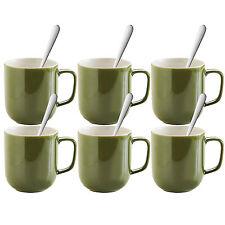 Set di 6 Verde Oliva 14oz Tazze da Tè Caffè Cioccolata Calda Bevande tazze e cucchiai NEW