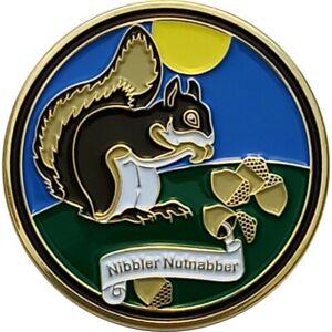 Wildlife Muggles Geocoin - Nibbler Nutnabber, Polished Gold finish, Unactivated