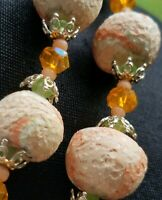 "Delicious Vintage ""Orange Marmalade"" Double Strand glass Bead Necklace Japan"