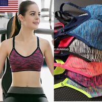 Women Seamless Racerback Padded Sports Bra Yoga Fitness Stretch Workout Tank #@