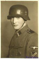 Port. Photo: Rare Studio Pic German Elite Helmeted Waffen Rottenführer Posed!