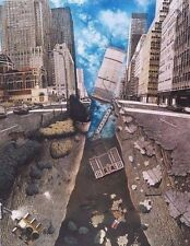 "Art - Park Ave Earthquake New York City Ink Airbrush Print 16"" x 20"" w/ Mat New"