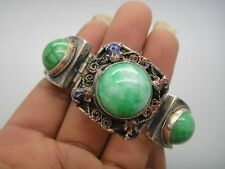 Collectible Old tibet-silver handwork inlay natural green jade bead bracelet