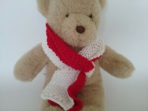 Teddy Bear Clothes, 'Bushy' Red & White HandKnitted Scarf for bears, dolls, toys