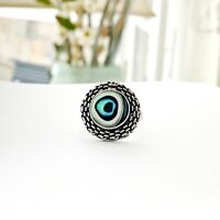 Mexico Sterling Silver All Seeing EVIL EYE Abalone Protection Taxco Sz 7 Ring