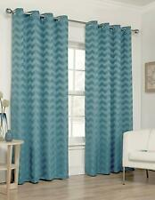 ZIG ZAG KINGFISHER TEAL 90 x 90 RING TOP EYELET FULLY LINED READY MADE CURTAINS