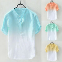Summer Men's Breathable Tops Collar Hanging Dyed Gradient Cotton Shirt Blouse