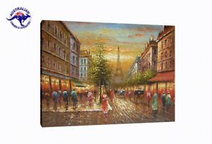 Huge Eiffel Tower Paris Street Scene 120x90 cm